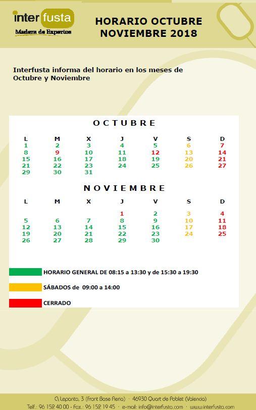 Horario de Octubre Noviembre