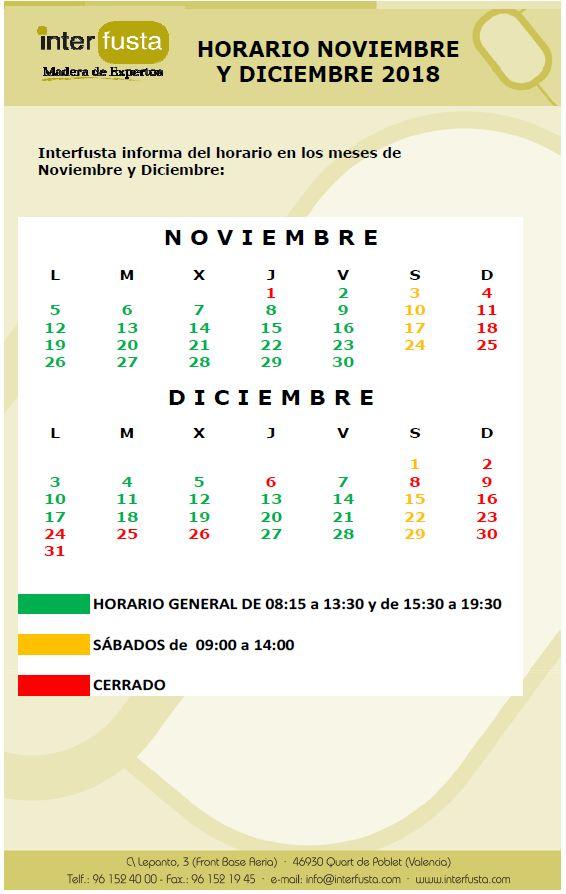 Horario de Noviembre y Diciembre